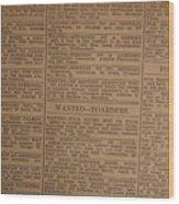 Vintage Old Classified Newspaper Ads Wood Print