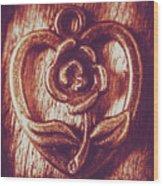 Vintage Ornamental Rose Wood Print