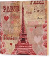 Vintage Paris And Roses Wood Print