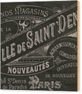 Vintage Paris Sign Wood Print