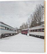 Vintage Passenger Train Cars In Winter Wood Print