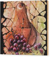 Vintage  Pear And Grapes Fresco   Wood Print