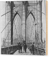 Vintage Photo Brooklyn Bridge Wood Print