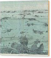 Vintage Pictorial Map Of Boston Harbor  Wood Print