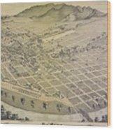 Vintage Pictorial Map Of El Paso Texas - 1886 Wood Print