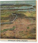 Vintage Pictorial Map Of Newark Nj - 1916 Wood Print