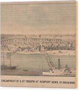 Vintage Pictorial Map Of Newport News Va - 1862 Wood Print