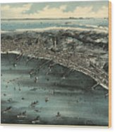 Vintage Pictorial Map Of Provincetown - 1910 Wood Print