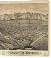Vintage Pictorial Map Of Santa Barbara Ca - 1877 Wood Print