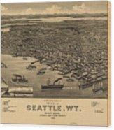 Vintage Pictorial Map Of Seattle - 1884 Wood Print