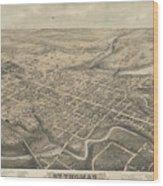 Vintage Pictorial Map Of St. Thomas Ontario - 1875  Wood Print