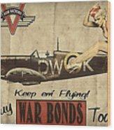Vintage Pinup Warbond Ad Wood Print