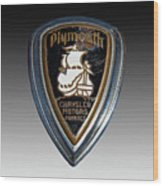 Vintage Plymouth Car Emblem Wood Print