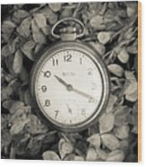 Vintage Pocket Watch Over Flowers Wood Print