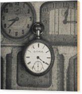 Vintage Pocket Watch Over Old Clocks Wood Print