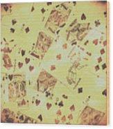 Vintage Poker Card Background Wood Print