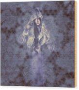 Vintage Portrait. Elegant Girl Wearing Lace Veil Wood Print