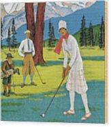 Vintage Poster Advertising Samaden In Switzerland Wood Print