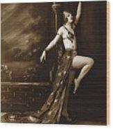 Vintage Poster Posing Dancer In Costume Wood Print