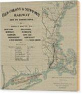 Vintage Railway Map 1865 Wood Print