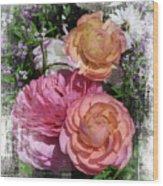 Vintage Ranunculus Wood Print