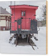 Vintage Red Caboose In The Snow Wood Print
