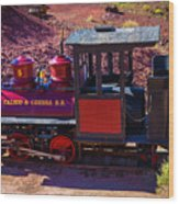 Vintage Red Calico Train Wood Print