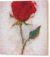 Vintage Red Rose  Wood Print