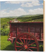 Vintage Red Wagon Wood Print