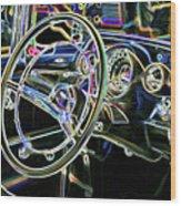 Vintage Retro Car Interior Wood Print
