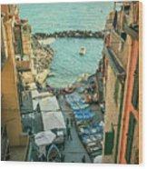 Vintage Riomaggiore Cinque Terre Italy Wood Print