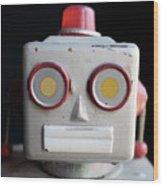 Vintage Robot Square Wood Print