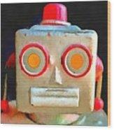 Vintage Robot Toy Square Pop Art Wood Print