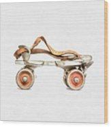 Vintage Roller Skate Painting Wood Print