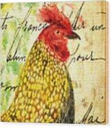 Vintage Rooster Portrait    Wood Print