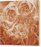Vintage Rose Petals Abstract  Wood Print