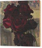 Vintage Roses In Vintage Paris Wood Print