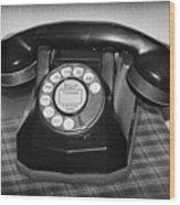 Vintage Rotary Phone Black And White Wood Print