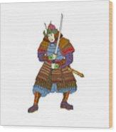 Vintage Samurai Katana Woodblock Print Wood Print