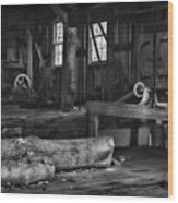 Vintage Sawmill In Black And White Wood Print