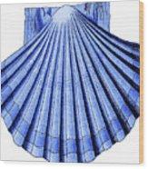 Vintage Scallop Shell Blue Wood Print