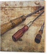 Vintage Screwdrivers Wood Print