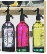 Vintage Seltzer Bottles 2 Wood Print