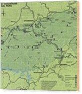 Vintage Smoky Mountains National Park Map Wood Print