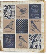 Vintage Songbird Patch 2 Wood Print