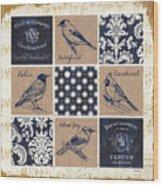 Vintage Songbirds Patch Wood Print