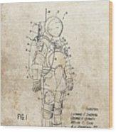 Vintage Space Suit Patent Wood Print