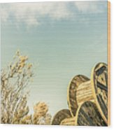 Vintage Spools And Farmyard Skies Wood Print