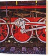 Vintage Steam Train Wheels Wood Print