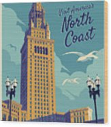 Cleveland Poster - Vintage Style Travel  Wood Print